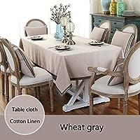 テーブルクロス 新しい北欧のシンプルなスタイルのテーブルクロスコットンリネンテーブルカバーソリッドカラー長方形/ウェディング/パーティー/ダイニングルームのための正方形テーブルクロス (Color : Wheat grey, Specification : 55x55cm pillow cover)