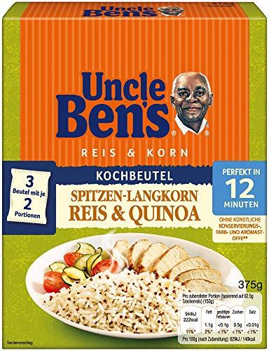 Uncle Ben's Reis & Korn Spitzen Langkorn Reis & Quinoa, 12 Minuten Kochbeutel, 6 Packungen (6 x 375g)