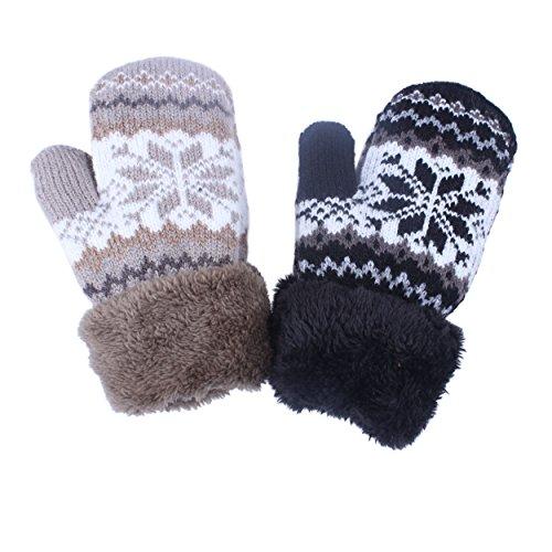 2Pairs Toddler Baby Boy Girl Warm Winter Mittens Gloves With Fleece Lining Snowflake Design (2Pairs Black &KAQI)