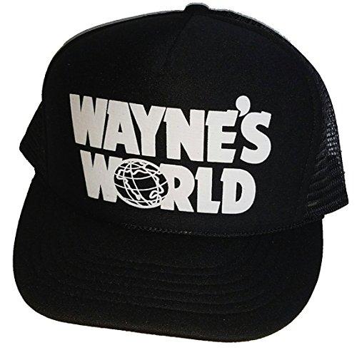 THATSRAD Wayne's World Costume Halloween Mesh Trucker Hat Cap Snapback Waynes … Black