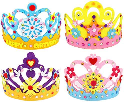 Hifot Tiara Craft Kits 4pcs, Felt Kids Crown DIY with Rhinestone sticker, Girl Princess Birthday Party Favors Pretend Play