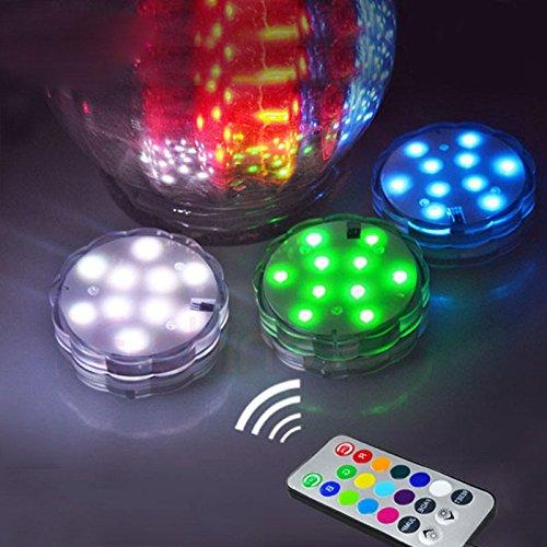 FomCcu Lampe de Aquarium 10 LED avec Télécommande Léger et étanche pour Fête Mariage Vacances