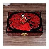 Hong Yi Fei-Shop Caja joyero Caja de joyería Vintage antigüedad Pintada Flor de Madera Caja de Almac...