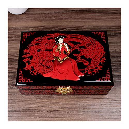 Chenhan Joyería Caja de Almacenamiento Caja de joyería Vintage antigüedad Pintada Flor de Madera Caja de Almacenamiento de joyería con Espejo for joyería Collar Pendientes Colgador de Joyas