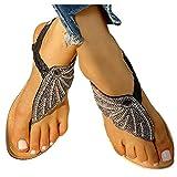 Aniywn Ladies Sandals Bohemia Flip Flops Sandals Summer Casual Comfortable Crystal t-Strap Thong Sandals Black