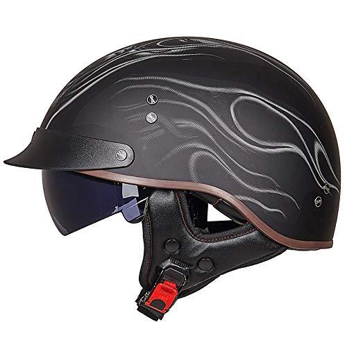 LWAJ Retro MotorradHelm, Jet-Helm Motorrad-Helm Half Helm mit Drop Visier für Cruiser Chopper Biker FüR Herren Damen Vintage Helme Harley Halbhelm DOT/ECE Standard