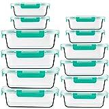 CREST Set di 12 contenitori per Alimenti in Vetro - Contenitori Vetro Eermetici Alimenti - 24 Pezzi (12 contenitori + 12 coperchi) - Senza BPA - Adatto per lavastoviglie, Congelatore, Microonde