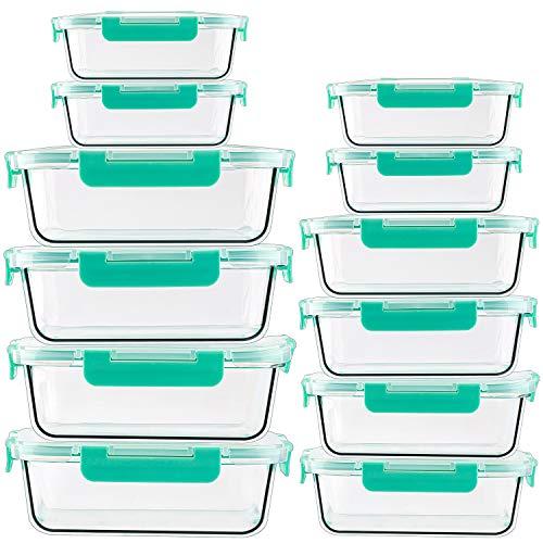 CREST 12er Set Glas Frischhaltedosen, Vorratsdosen Glas mit Deckel, BPA Frei, Spülmaschinen- Mikrowellen- und Gefrierschrankgeeignet