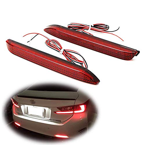 iJDMTOY Red Lens 42-SMD LED Bumper Reflector Lights Compatible With Lexus RC NX IS-F GX etc. Function as Tail, Brake & Rear Fog Lamps