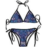 VTYOSQ Bikini, Hamsa Hand of Moroccan Ornament Pattern Mujeres Traje de baño Vendaje Bikini Set Sujetador Push-up Acolchado Traje de baño