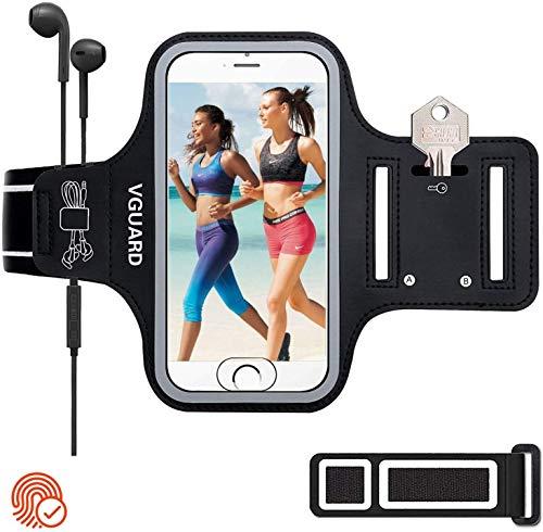 VGUARD Sportarmband Handy,Schweißfest Joggen Handytasche Laufen mit Schlüsselhalter, Kopfhörerloch und Verlängerungsband für (5