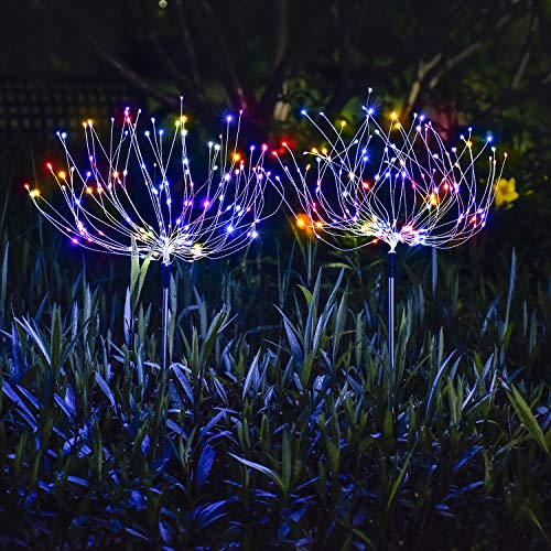Ooklee Solar Lights Outdoor Garden, 1 PC 150 LED Waterproof 8 Flash Modes Rainbow Copper Wire String, Firework Spike Stake Starburst Flowers Fairy Lights for Outside Walkway Patio Decor(Multi Color)