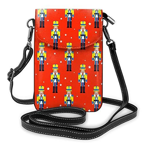 Lsjuee Monedero de cuero para teléfono, juguete cascanueces rojo Navidad pequeño bolso bandolera Mini bolso para teléfono celular bolso de hombro para mujer