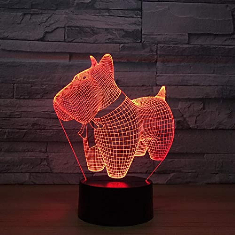 Laofan Hund 3D Tischlampe Led Bunte 3D Nightlight Schlafzimmer Dekor USB Baby Schlaf Beleuchtung Kinder Geschenk,Fernbedienung