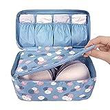 Wowlife Fashion Portable Multi-Functional Travel Organizer Cosmetic Make-up Bag Luggage Storage Case Bra Underwear Pouch (Flower-Blue)