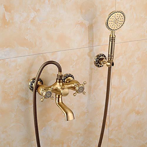 AXWT Villa de lujo espesado de latón baño ducha grifo precipitimenta lluvia cabezal de ducha, tina de rociado a mano Tapón de doble mango frío y agua caliente de latón antiguo montaje en pared conjunt