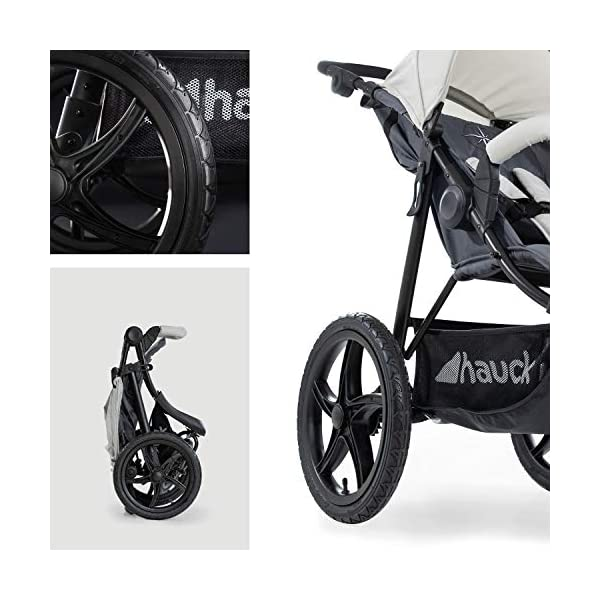 Hauck Runner, Jogger Style, 3-Wheeler, Pushchair with Extra Large Air Wheels, Foldable Buggy, For Children from Birth to 25kg, Lying Position - Silver Grey Hauck LONG USE - This 3-wheel pushchair is suitable from birth (in lying position or in combination with the 2in1 Carrycot) and can be loaded up to 25kg (seat unit 22 kg + basket 3 kg) ALL-TERRAIN - Thanks to the big air wheels - back 39cm diameter, front 30 diameter – as well to the swiveling and lockable front wheel, this jogger style pushchair can be used on almost any terrain COMFORTABLE - Thanks to adjustable backrest and footrest, sun canopy, large shopping basket, and height-adjustable push handle 2