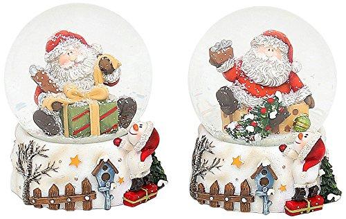 Sigro 2 Assorted Santa Snow Globe Base Hek en SM, 9/5 x 7 x 7 cm, Polystone Multi kleuren, One Size