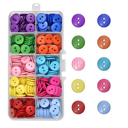 350 Piezas Botones de resina 10MM Formas Redondas 10 colores Mixto Botones para costura y Manualidades, Bricolaje