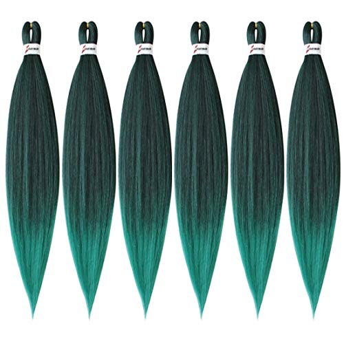 XIAOFENG 6 Packs Pre Stretched Braiding Hair Extension 26 Inch Long Professional Pre-stretched Hair for Braiding Twist Braids Itch Free Yaki Straight Synthetic Hair for Women (26 Inch, Ombre Black to Green)