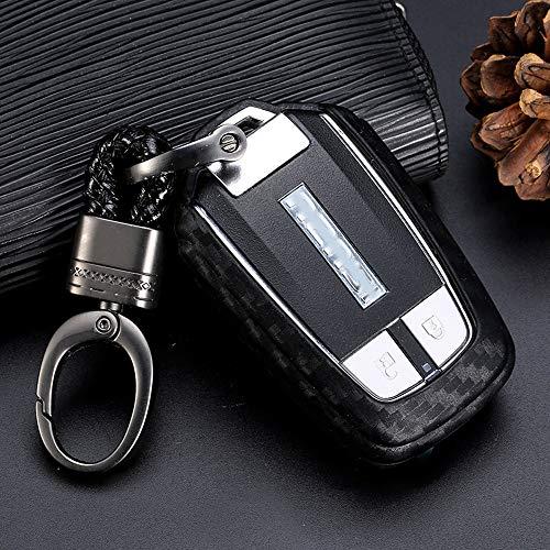 Royalfox(TM) Soft Black Silicone Carbon Fiber Style Smart keyless Remote Key Fob case Cover for Isuzu MUX MU-X D-MAX DMAX Keychain (for Isuzu Smart Key fob)