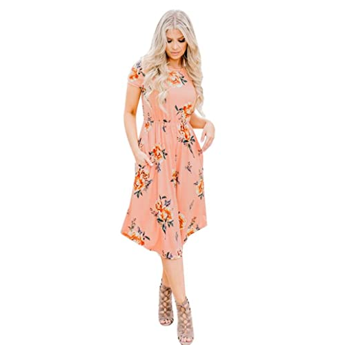 e4289774ef HODOD Women s Floral Print Round Neck Short Sleeves Long Maxi Casual Dress