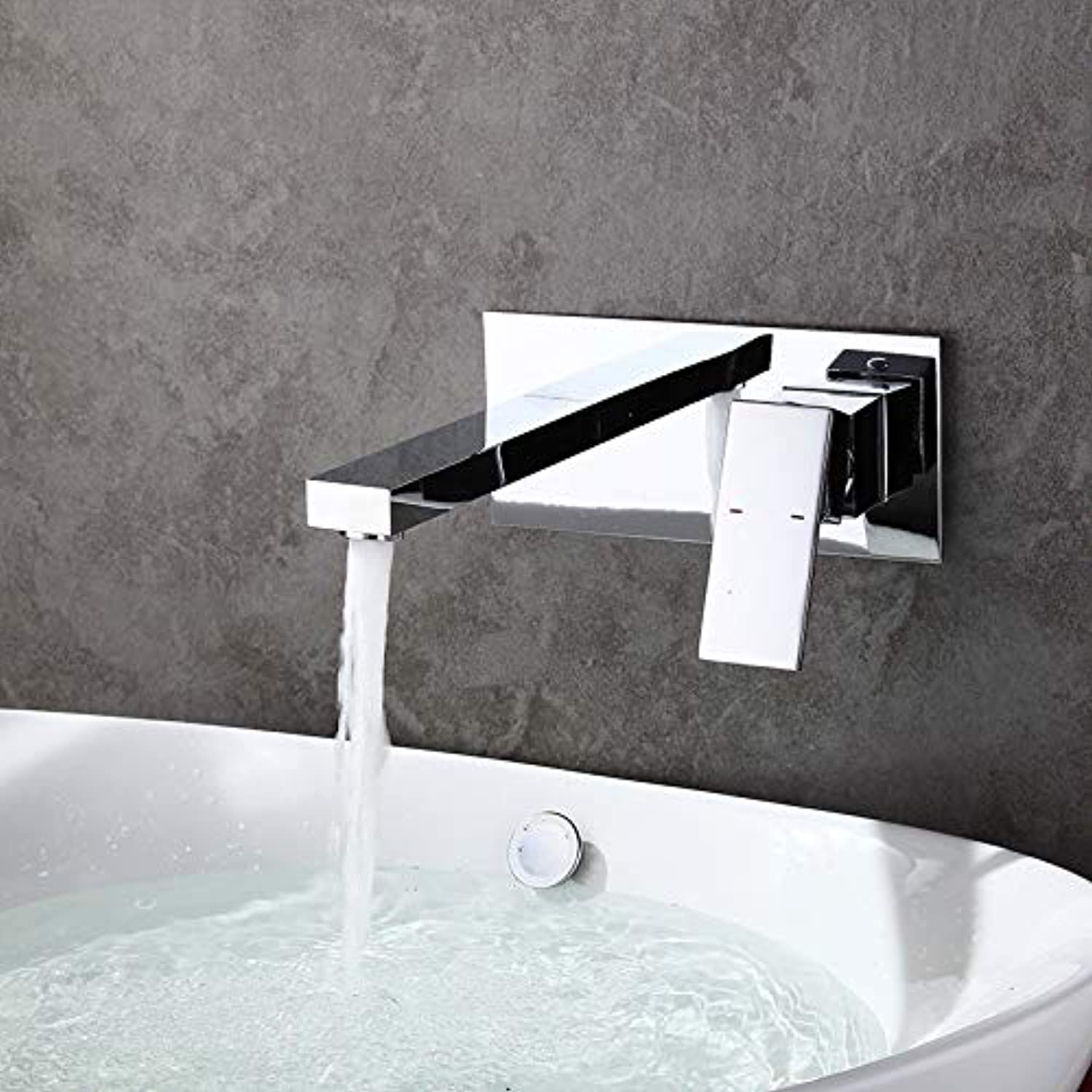 ROKTONG Sink Taps Filter Taps Wall-Mounted Basin Faucet Concealed Wall-Mounted Washbasin Faucet Wall-Mounted Basin Wash Basin Ceramic Basin Waterfall Faucet