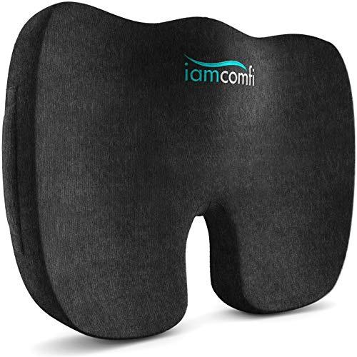 iamcomfi - Cojín ortopédico de espuma viscoelástica, para ciática, coxis y dolor de cadera, alivio de presión en la espalda y el coxis en el asiento del coche, silla de oficina o silla de ruedas