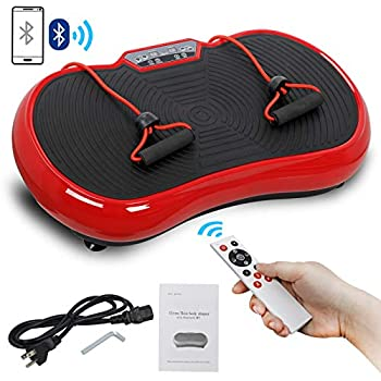SUPER DEAL Pro Vibration Plate Exercise Machine - Whole Body Workout Vibration Fitness Platform Fit Massage Workout Trainer w/Loop Bands + Bluetooth + Remote 99 Levels  Red