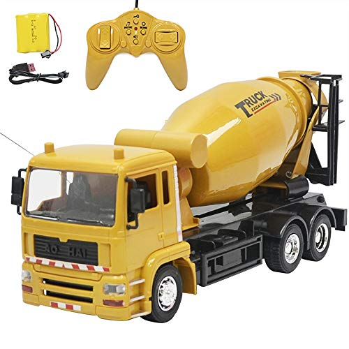 AIOJY Cement Engineering Vehicle Model Toy Electric Light Music Simulation Remote Control Mixer Truck Children's Toy Car, The Best Birthday Gift for Kids