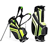 Mayjooy Golf Stand Bag, Portable Carry Golf Bag w/Ergonomic Dual Straps & 6 Way Top Divider, Lightweight Carry Organizer Pocket w/Umbrella Ring, Ideal for Men & Women (Green)