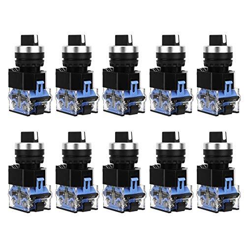 10 unids Selector Giratorio Interruptor BEM38-20X / 33 22mm 3 Posiciones Auto Reset AC660V 10A