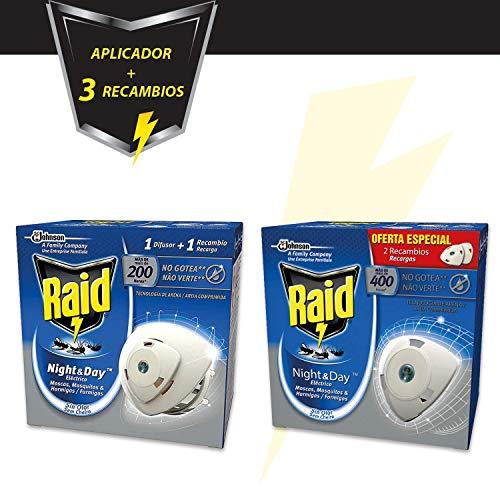 Raid - Pack anti insectos Night & Day, contiene 1 difusor eléctrico + 3 recambios, 600 horas de protección