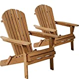 Adirondack Chair Patio Chairs Folding Adirondack Chair Lawn Chair Outdoor Chairs Set of 2 Fire Pit Chairs Patio SeatingWood Chairs for Adults Yard Garden w/Natural Finish