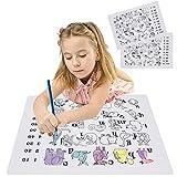 2PCS Estera de dibujo para colorear de mantel infantil, silicona para el Doodle educativo Graffiti Mat, Alfabeto de patrón de animales de alfabeto, lavable reutilizable para comedor Mesa de cocina