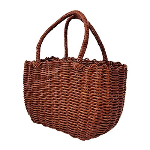 ZJJX Handgemachte Korb mit Griff, Camping Picknickkorb, für Wein Blume Einkaufen Lagerung Hamper Küche Veranstalter Home Decor