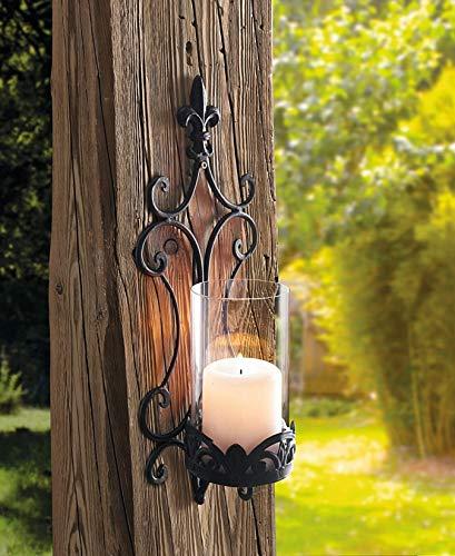 Dekoleidenschaft Wand-Windlicht Schwertlilie aus Metall & Glas, mit Ranken-Muster, schwarz, Antik-Design, Kerzenhalter