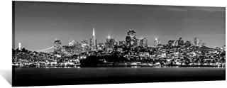 Kreative Arts Black and White Canvas Prints San Francisco Skyline at Night Painting Wall Art Decor Long USA Califonia Urban City Panoramic Picture Giclee Artwork for Office Decoration 55x20inch
