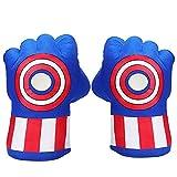 Superhero Boxing Gloves, Soft Plush Smash Hands Fists Cosplay Superhero Costume Gloves, Superhero Toys for Boys Girls, Toddlers, Birthday, Halloween, Christmas Xmas Gifts, Blue
