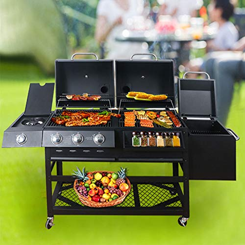 ZYFWBDZ Dual Fuel Combination Charcoal/Gas Grill, Stainless Steel 12,000 BTU Patio Garden Barbecue Grill Outdoor Picnic Patio Cooking Backyard Party