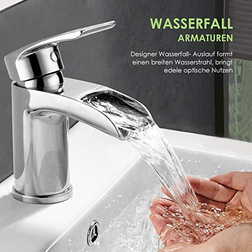 Design Kurzer Wasserfall Waschtischarmatur Einhebelmischer-Waschtischbatterie Bad Armatur Wasserhahn für Waschbecken - 7