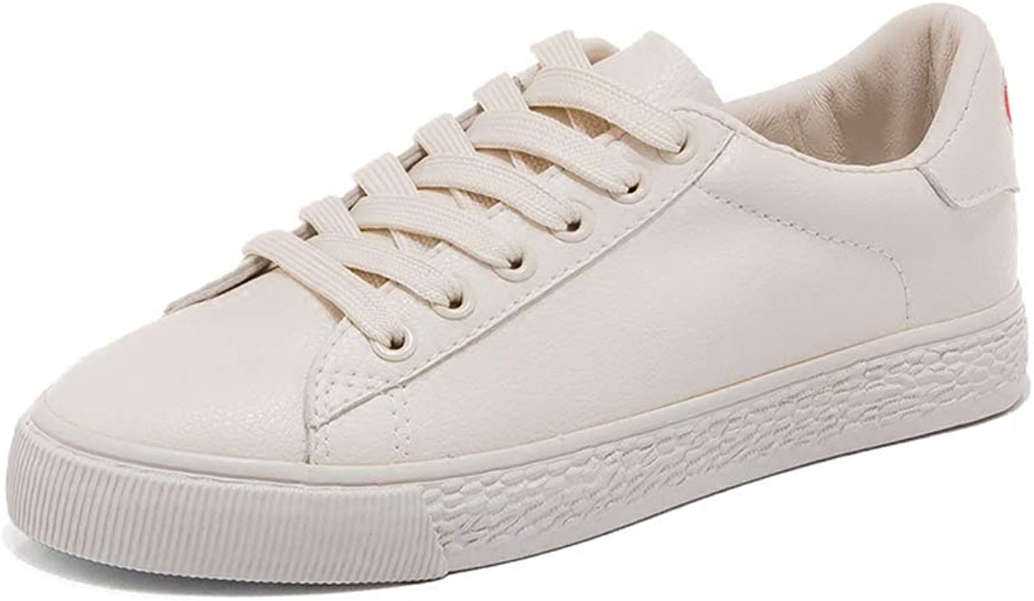 Fashion Solid color Sports shoes Women's PU Leather Lace Up Low shoes Flat Women's shoes