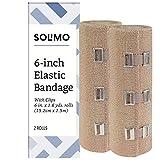 Amazon Brand - Solimo Elastic Bandage with Clips, 6