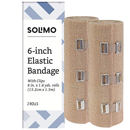 Amazon Brand - Solimo Elastic Bandage with Clips, 6' x 5' Roll (2 Pack)