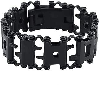 29 in 1 Multi Tool Bracelet, Outdoor Multifunctional Stainless Steel Tool Bracelet Portable Punk Bracelet(黑色)