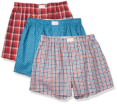 Tommy Hilfiger Men's Underwear Multipack Cotton Classics Woven Boxer, Faience Star Print/Multi Plaid/Cardinal Plaid, M