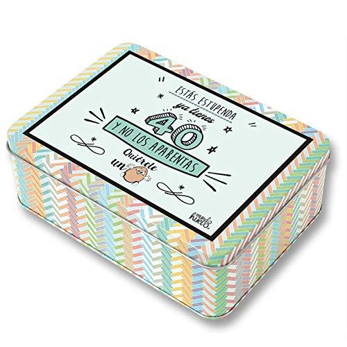 Regalo Mujer 40 años. Pack Caja metálica 18x13x6 cm, Bolsa 35x40 cm, Pulsera, libreta A-6 y boli. Ya Tienes 40 y no los aparentas