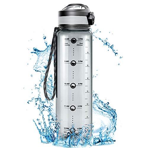 Cocoda Botella Agua con Marcador Tiempo, 1L Botella Agua Deporte Sin BPA con Filtro Fruta & Te, Colador Extraible, Prueba de Fugas, Botella Reutilizable para Gimnasia, Yoga y Viajes
