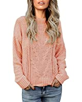 Vetinee Women Long Sleeves Soft Velvet Cable Knit Crewneck Solid Pink Sweater Pullover Top Size L 12 14