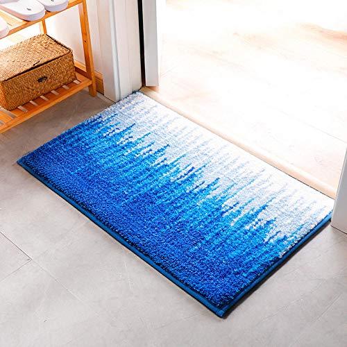 Ahuike Waterabsorberende badkamer tapijt matten dikke pluche comfortabele voeten tapijt badmat voor wastafel toilet blauw 50x80cm